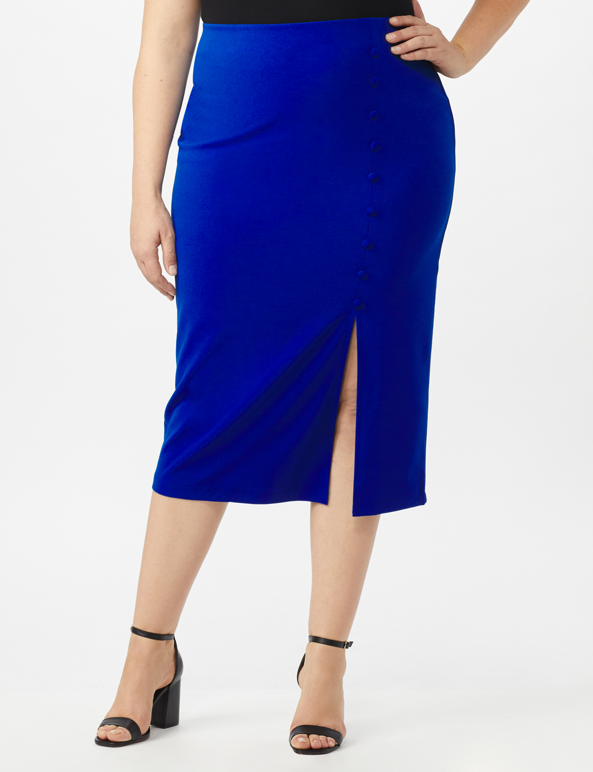 Scuba Crepe Side Slit Skirt With Button Trim Detail -Blue Hawaii - Front