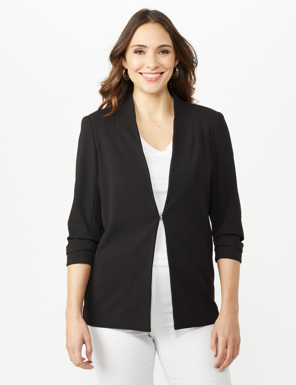 Open Front Collarless Cardigan With Ruched Sleeve - Misses -Black - Front
