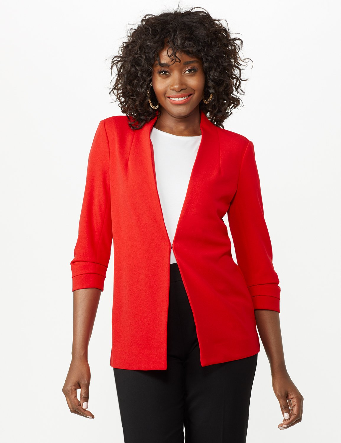 Open Front Collarless Cardigan With Ruched Sleeve -Infared - Front