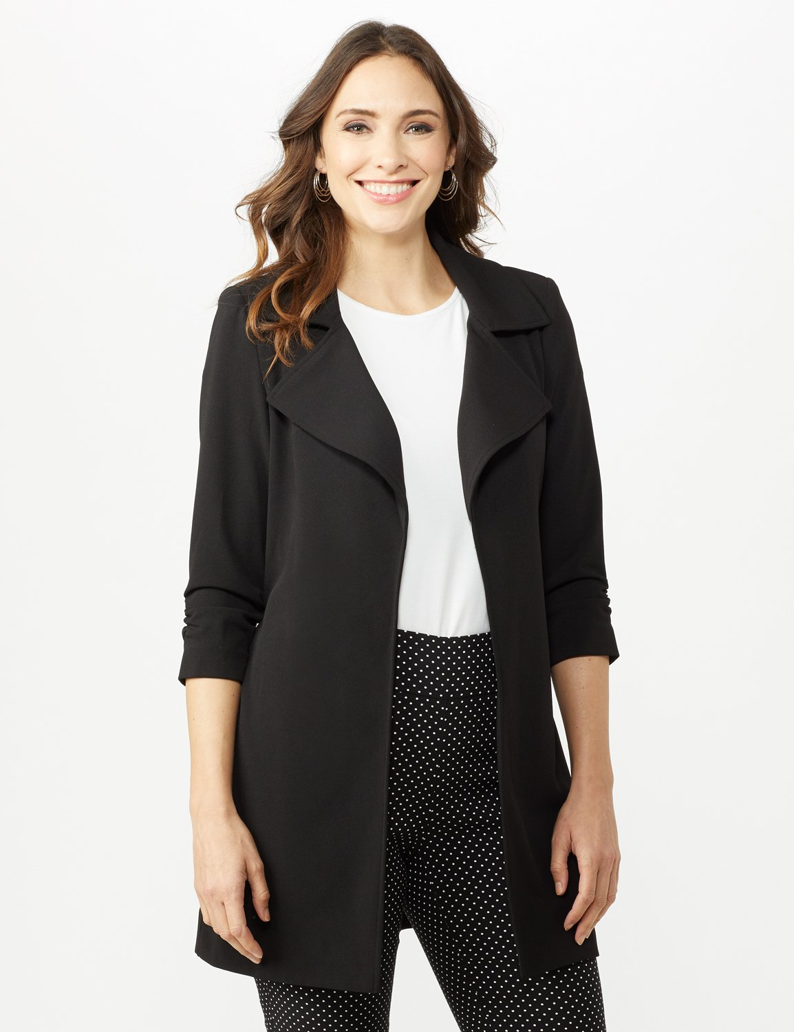 Knotched Collar Wrap Jacket With Tie Belt -Black - Front