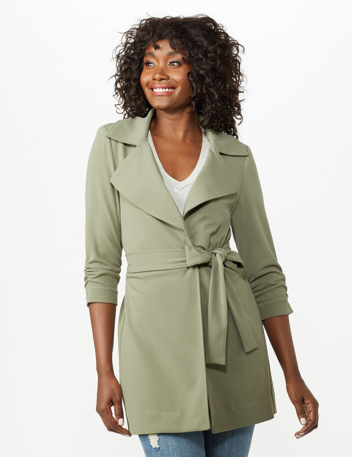 Knotched Collar Wrap Jacket With Tie Belt -Rugged Drab - Front