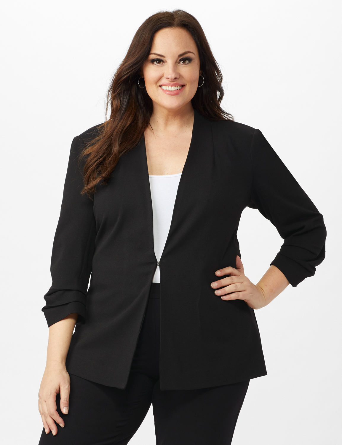 Open Front Collarless Cardigan With Ruched Sleeve -Black - Front