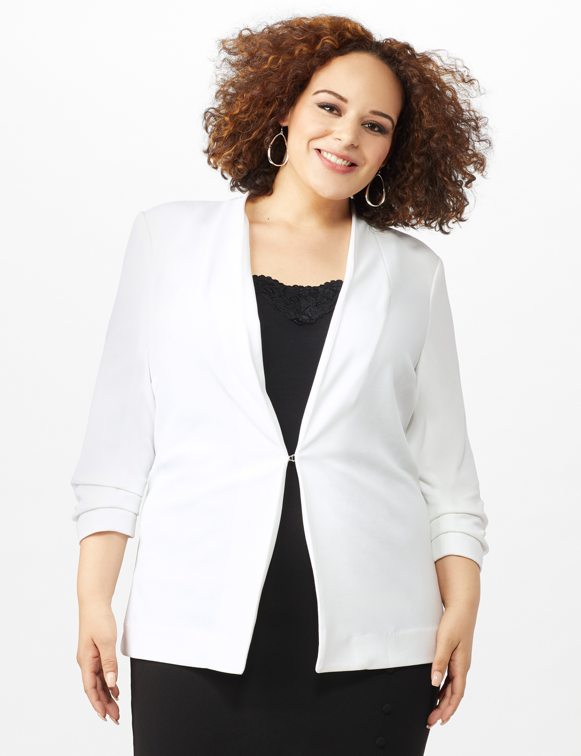 Open Front Collarless Cardigan With Ruched Sleeve - Plus -Sugar Swizzle - Front