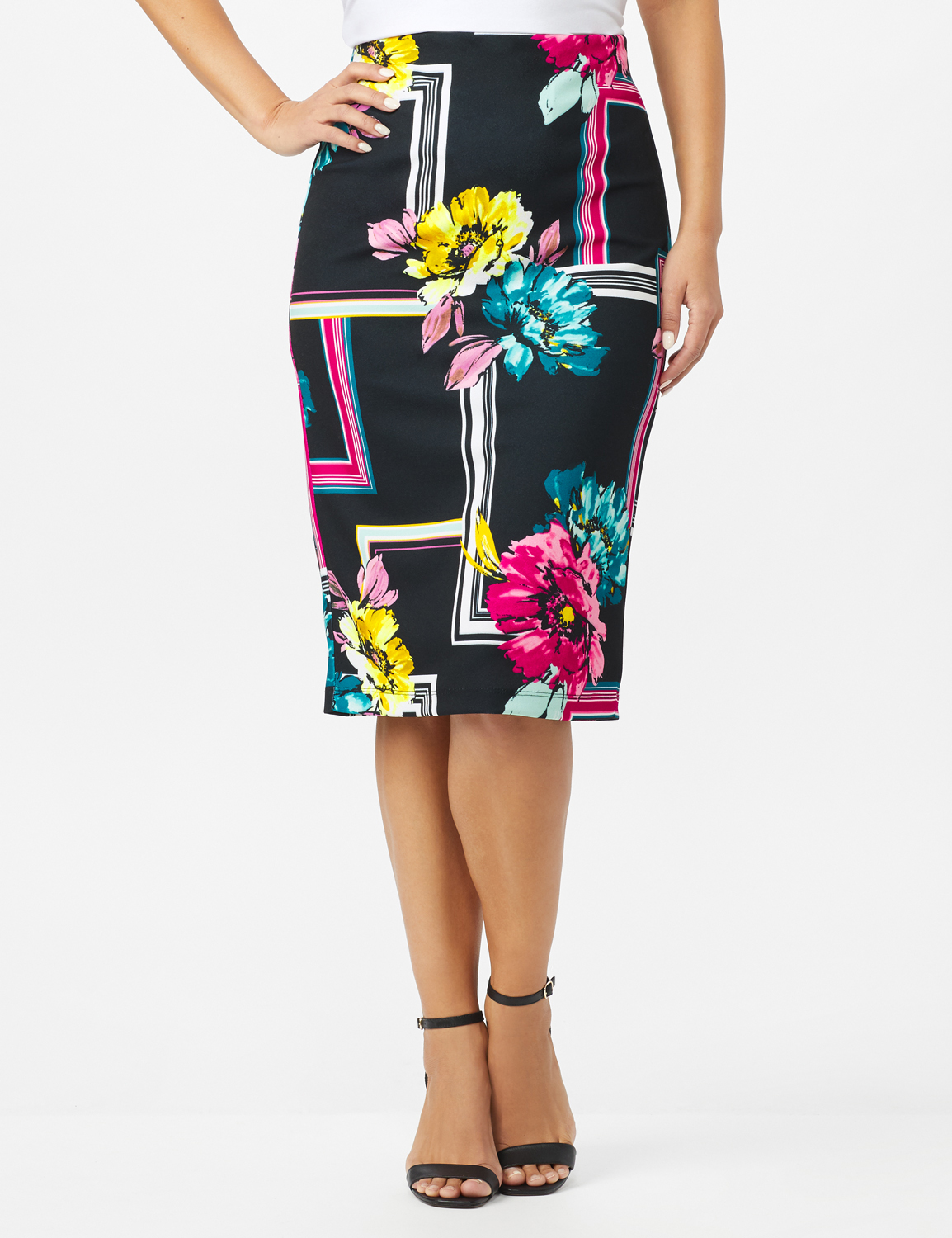 Scuba Crepe Floral Placement Print Skirt -Black - Front