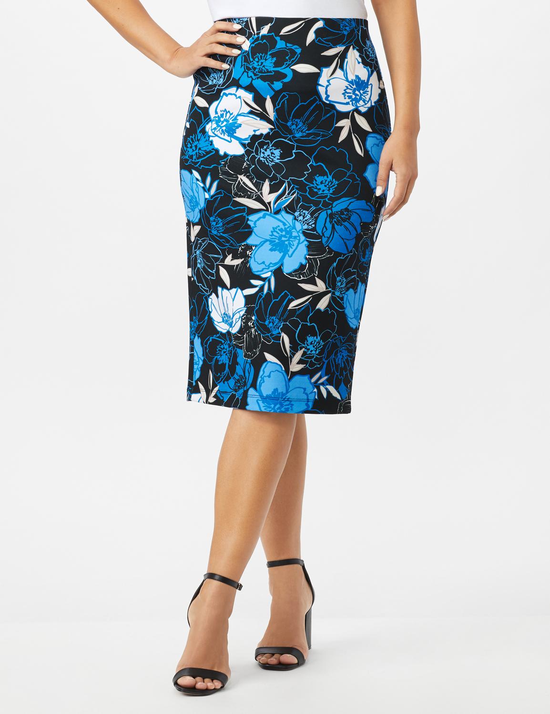 Scuba Crepe Etched Floral Print Skirt -Blue - Front