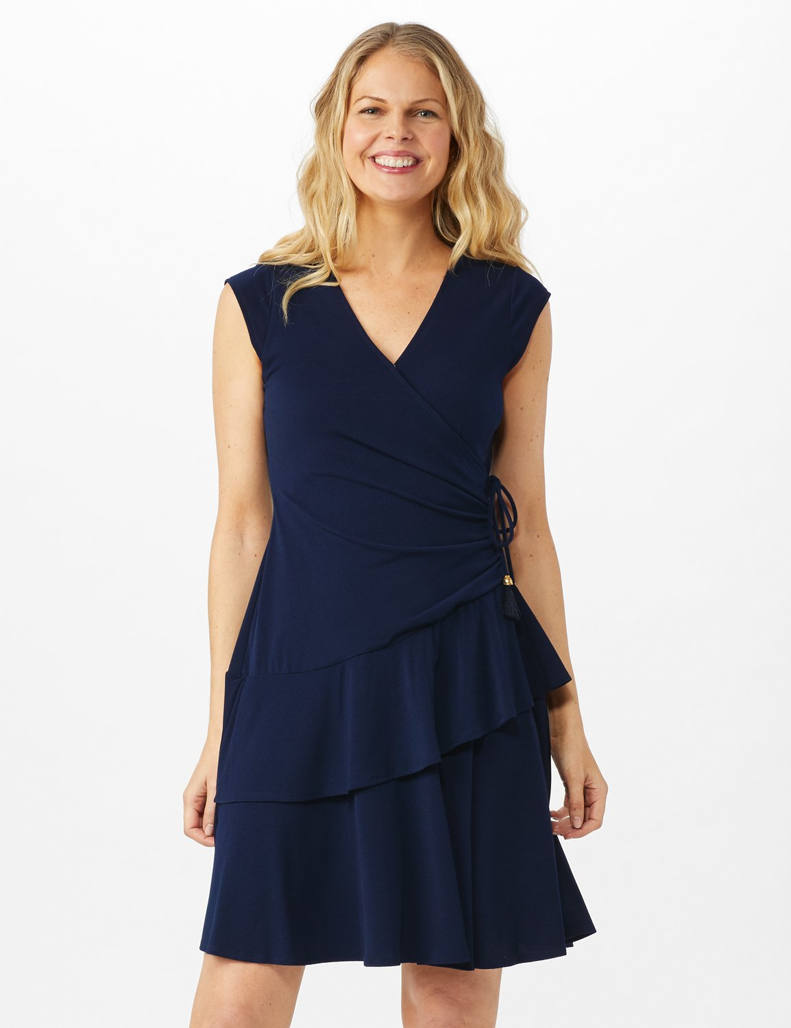 Faux Wrap with Side Tie Crepe Knit with Tiered Skirt -Navy - Front