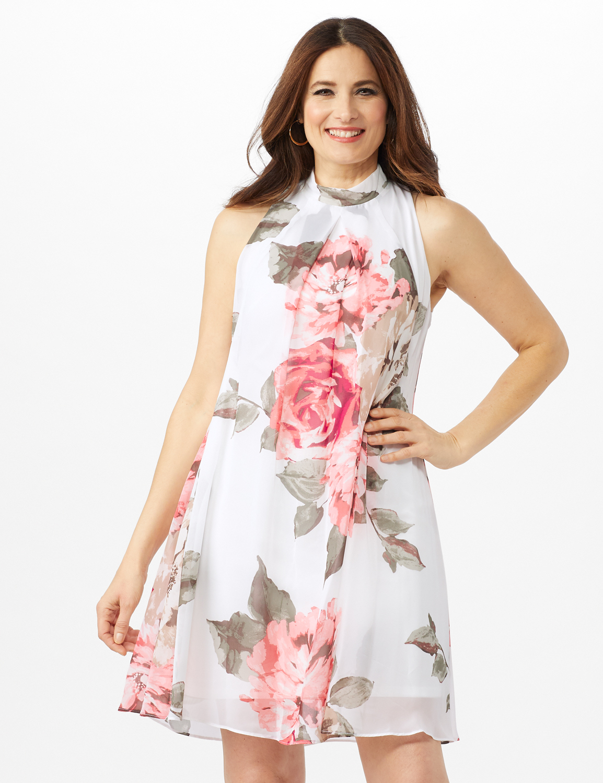Sleeveless Chiffon Large Flower Mock Neck Dress -Grey/Blush - Front
