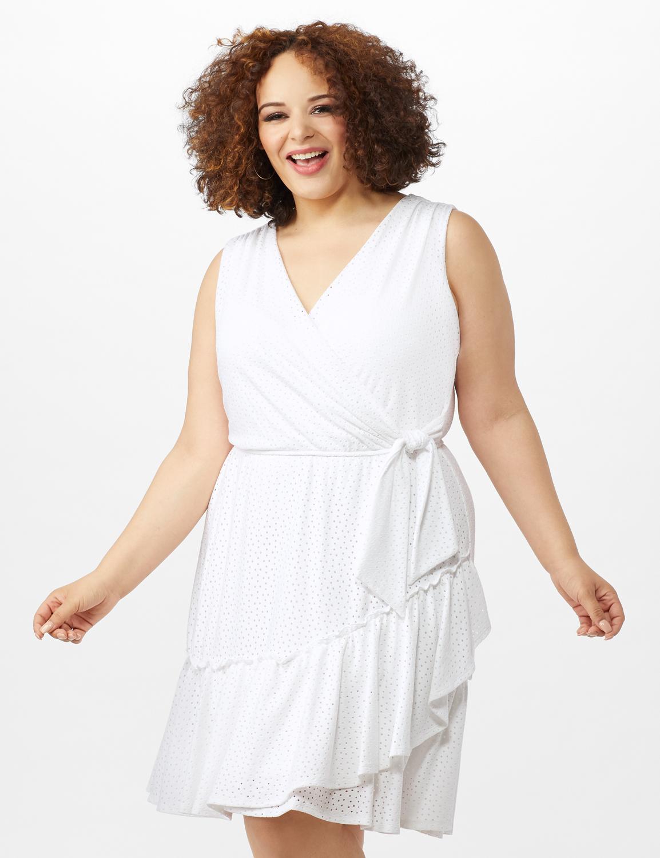 Sleeveless Eyelet Knit Side Tie Ruffle Hem Dress -White - Front