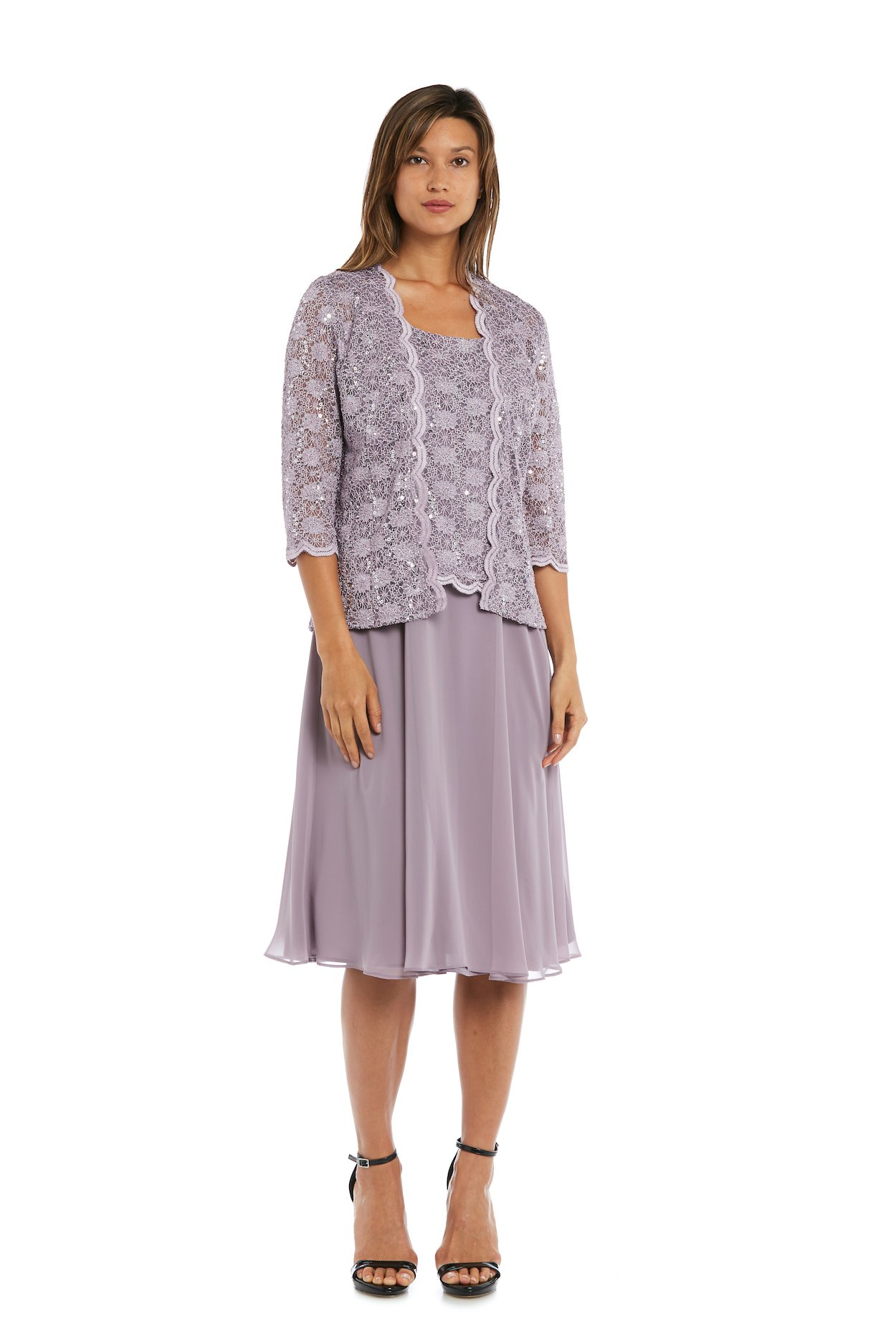 Sequined Lace Chiffon Dress and Jacket -Orchid - Front