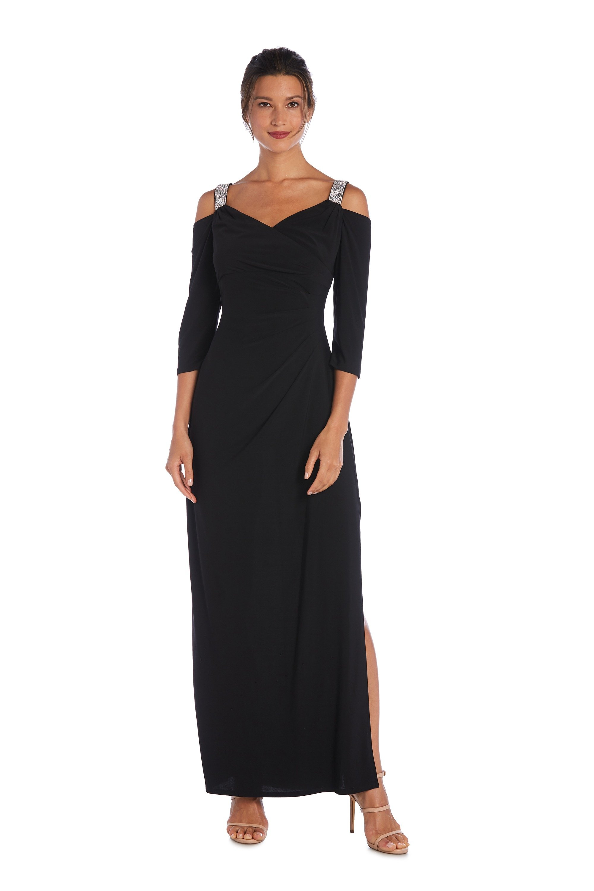 Cold Shoulder Embellished Strap Long Gown -Black - Front