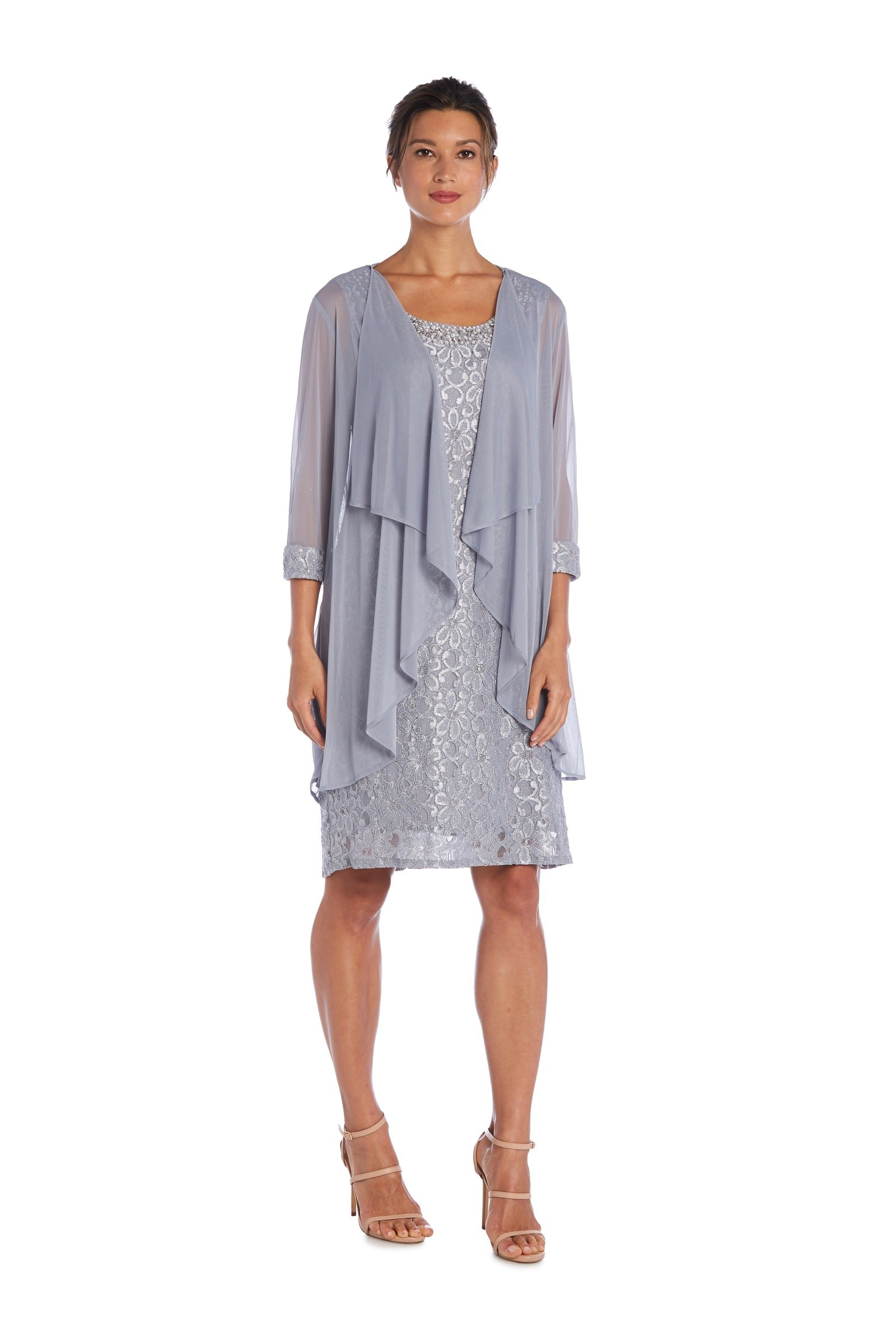 Beaded Neck Lace Dress With Cascade Jacket -Silver - Front