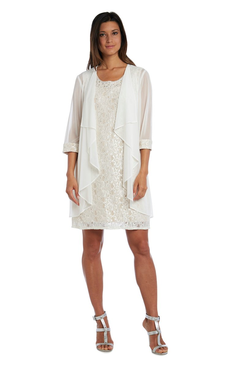 Beaded Neck Lace Dress With Cascade Jacket -Ivory/Taupe - Front