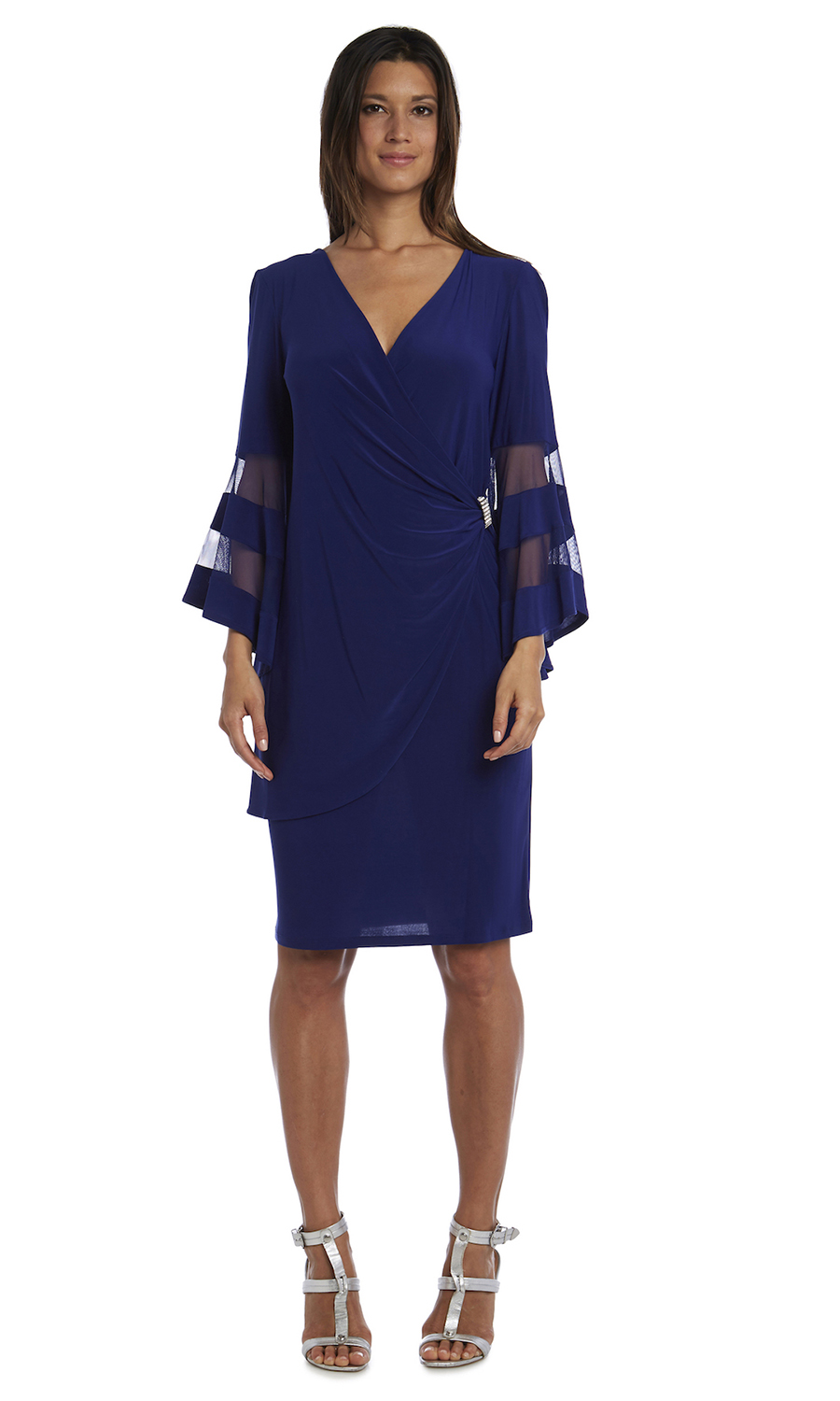 Illusion Bell Sleeve Dress with Rush Detail at Waist -Electric Blue - Front