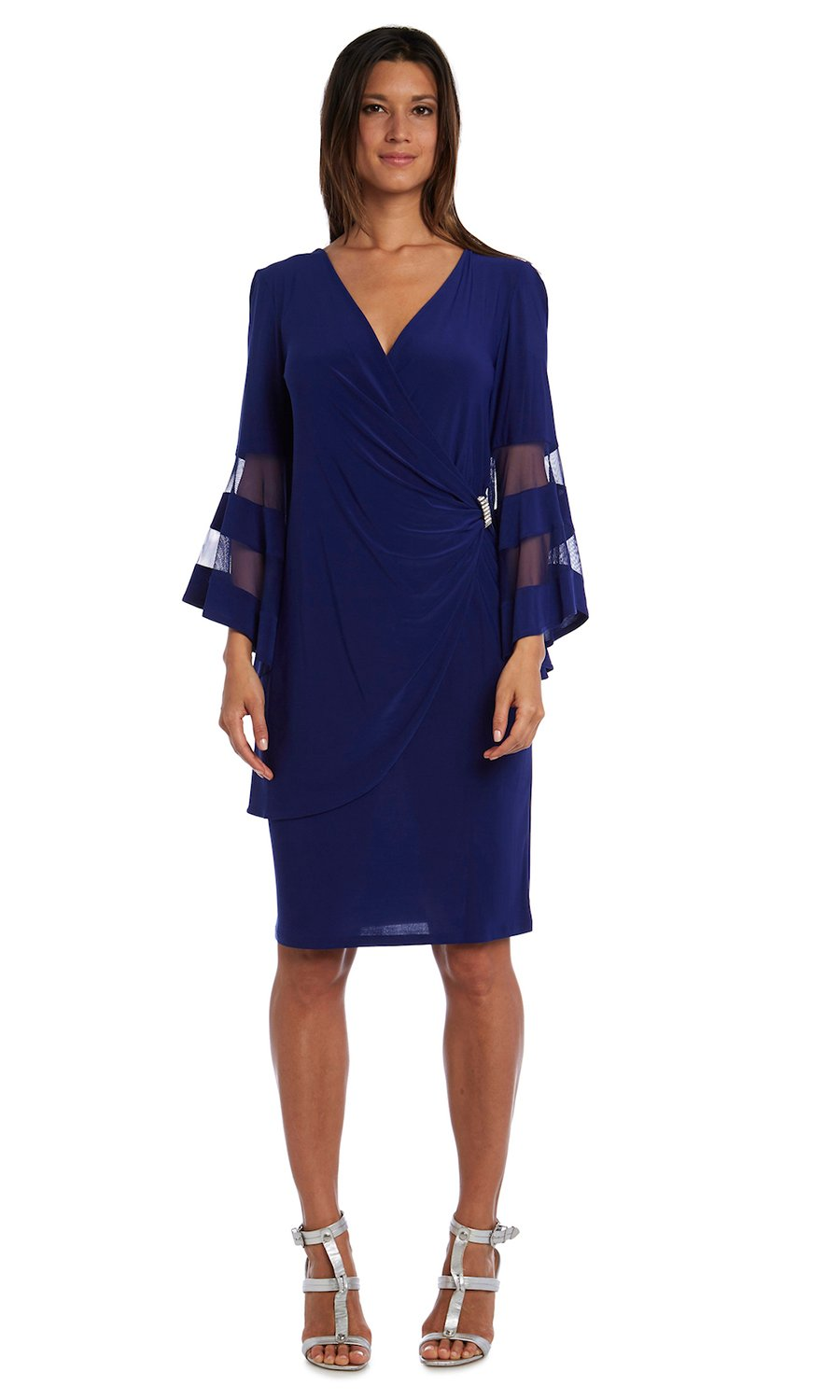 Illusion Bell Sleeve Dress with Rush Detail at Waist - Misses -Electric Blue - Front