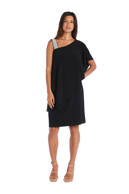 One Shoulder Rhinestone-Embellished Dress -Black - Front