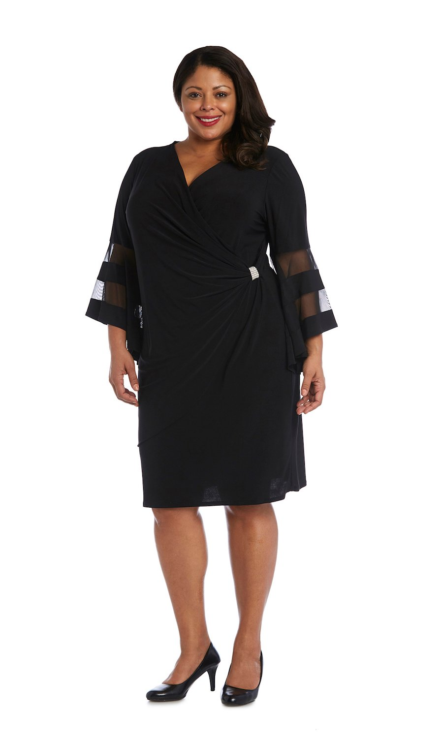 Illusion Bell Sleeve Dress with Rush Detail at Waist -Black - Front