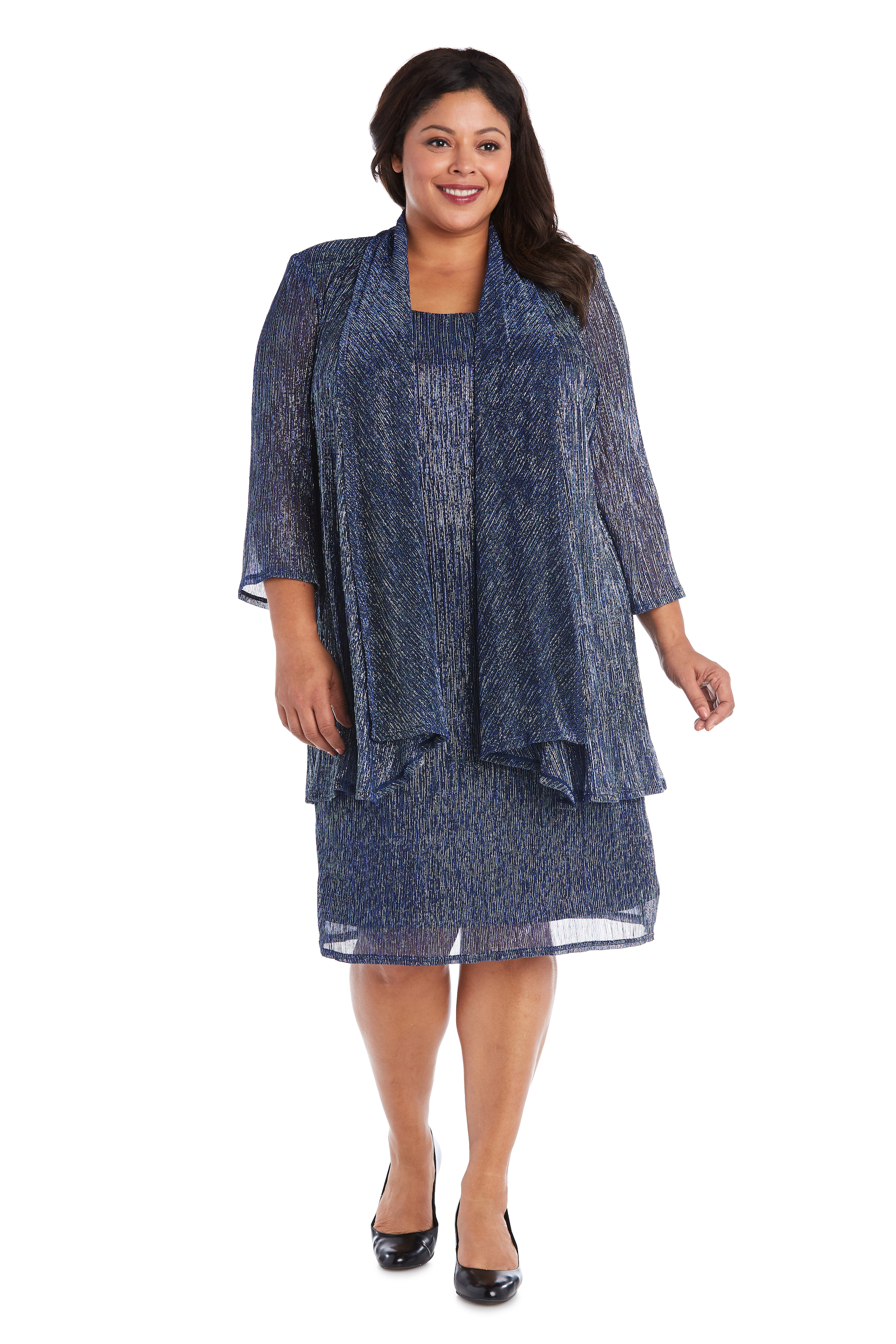 2pc Flyaway Metallic Jacket Dress -Blue - Front