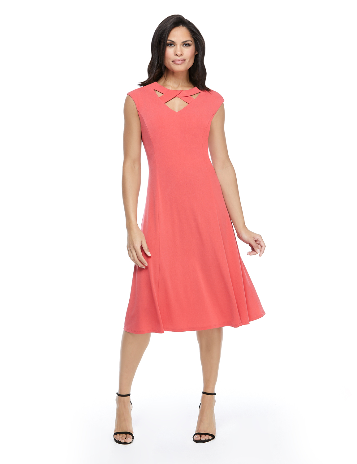 Twist Neck Jersey Dress -Coral - Front