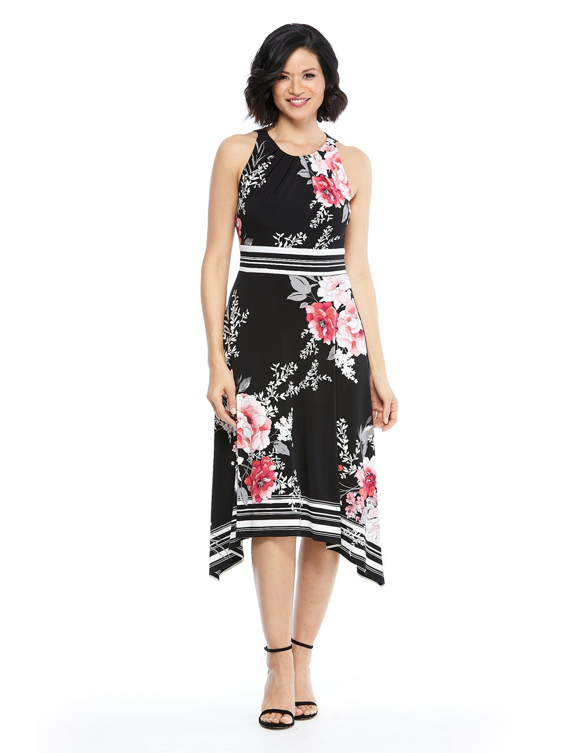 Floral Jersey Sharkbite Dress -Black/Pink - Front