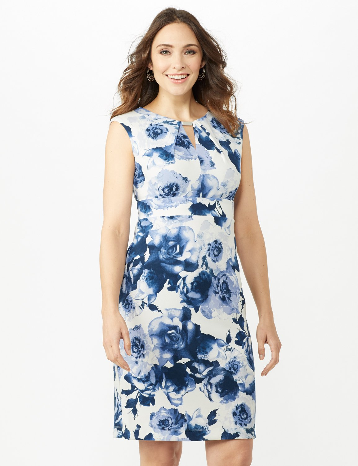 Sleeveless Keyhole Neck with Bar Floral Sheath Scuba Dress -Ivory/China Blue - Front