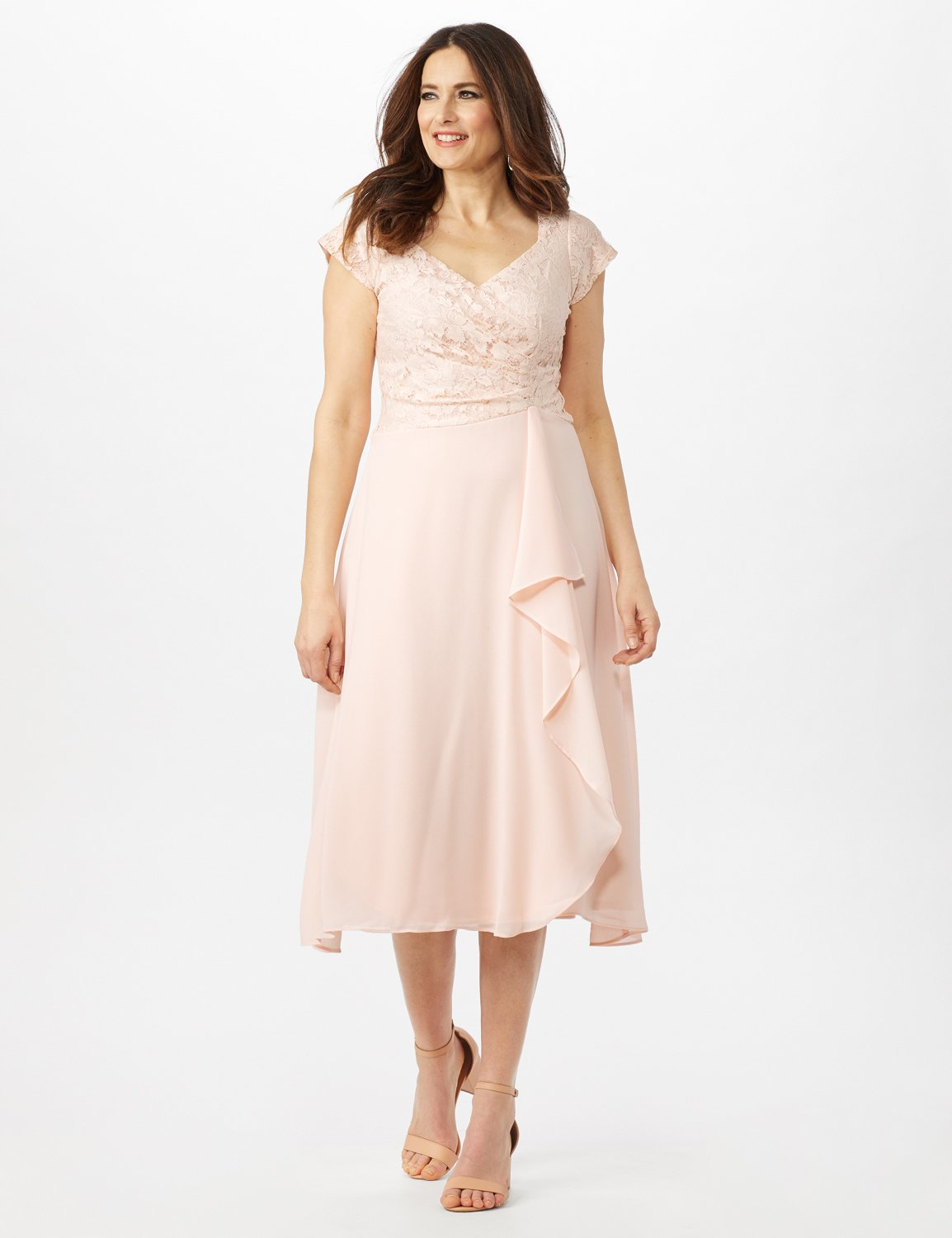 Bodice Cascade Ruffle Dress -Blush - Front