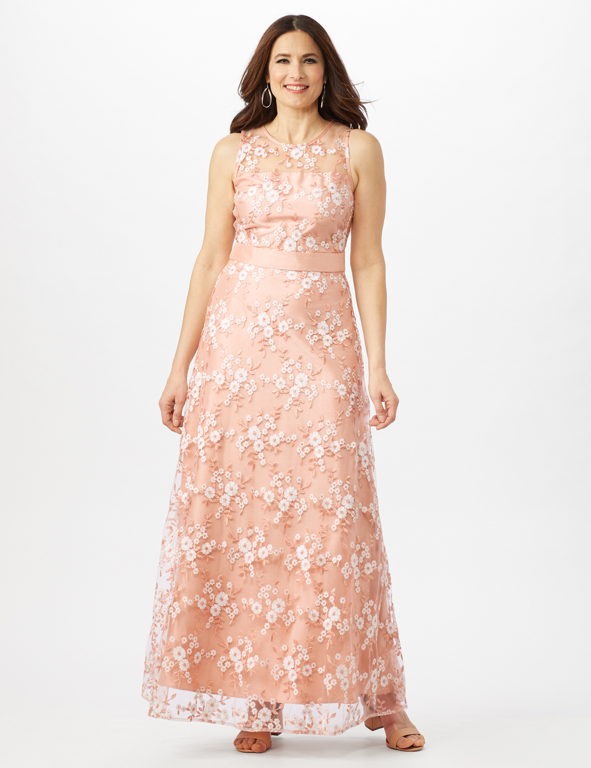 Floral Embroidered A-Line Gown -Peach/Ivory - Front