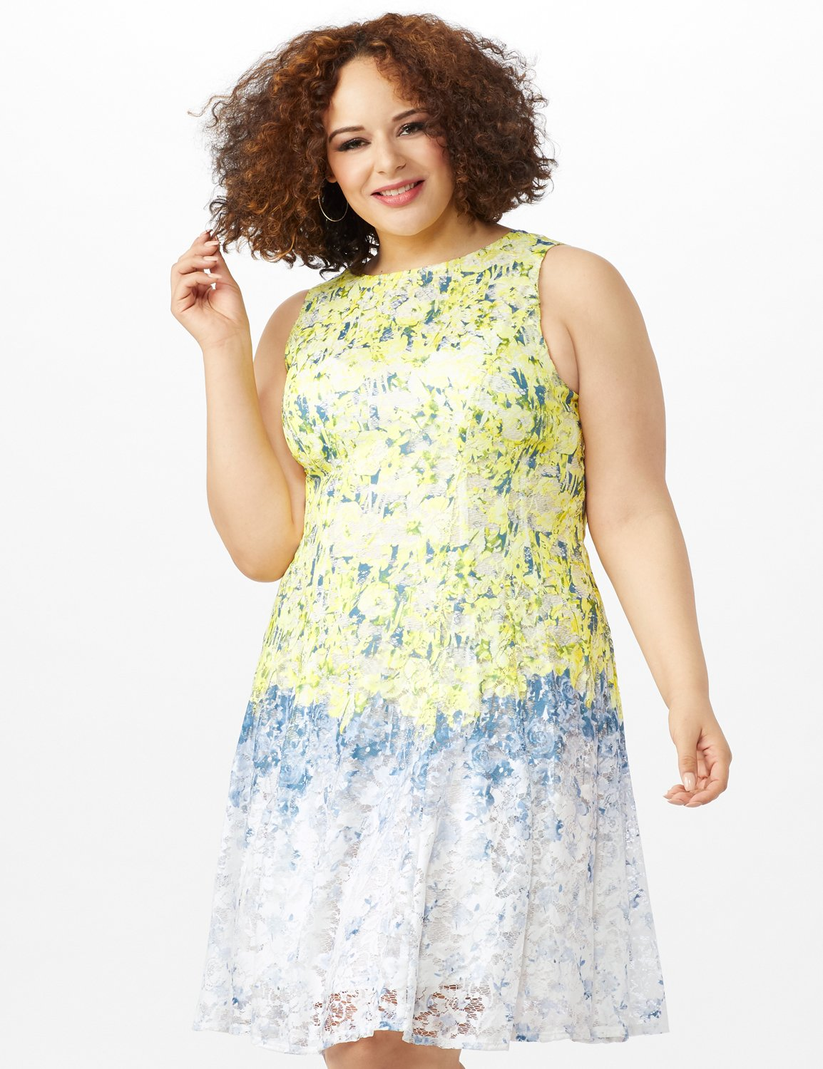 Sleeveless Round Neck Ombre Floral Print Lace Dress -Yellow/Blue - Front