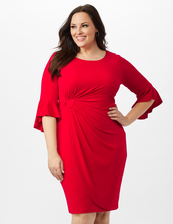 3/4 Flutter Sleeve Wrap Dress -Apple Red - Front