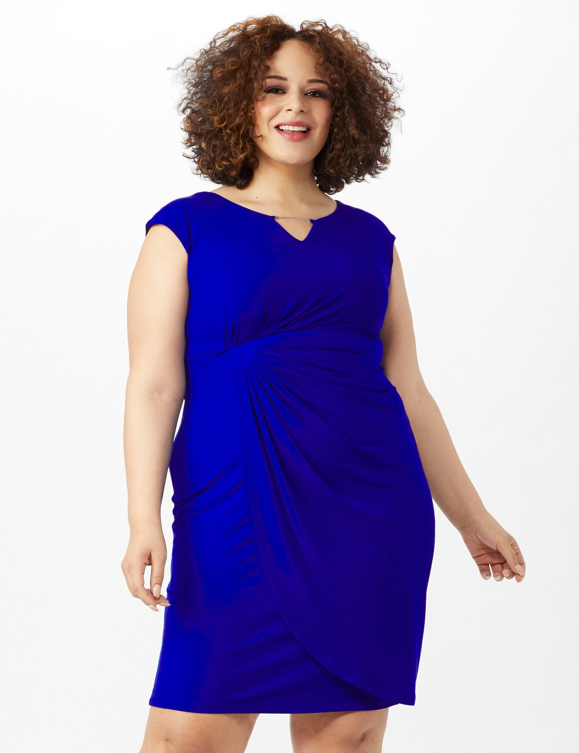 Cap Sleeve Wrap Dress -Deep Cobalt - Front