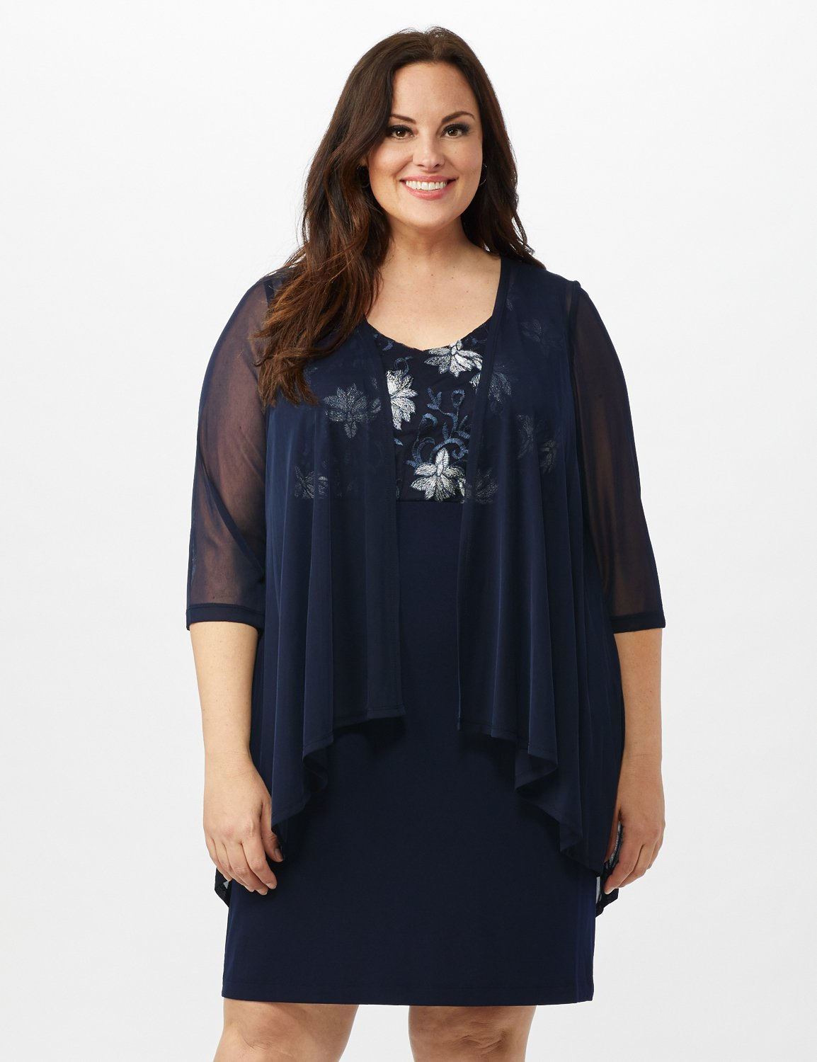 Mesh Cascade Jacket Embroidered Sheath Dress -Navy - Front
