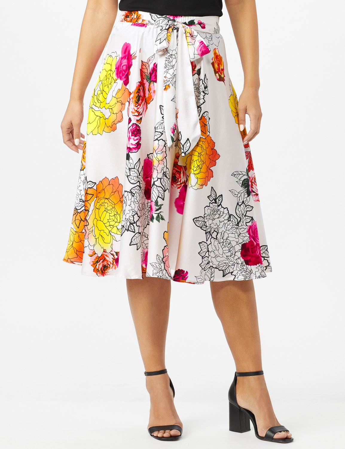 Printed Floral Skirt with All Around Elastic Waist and Tie -Red /Coral Rose - Front