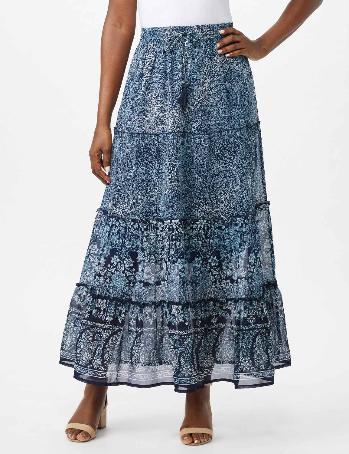 Tiered Maxi Skirt with Waist Tie and Tassel -Navy - Front