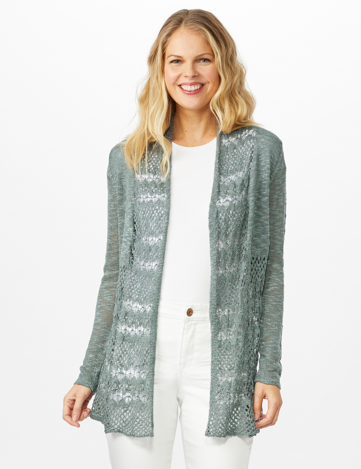 Textured Cardigan with Crochet Detail -Silver Moss - Front