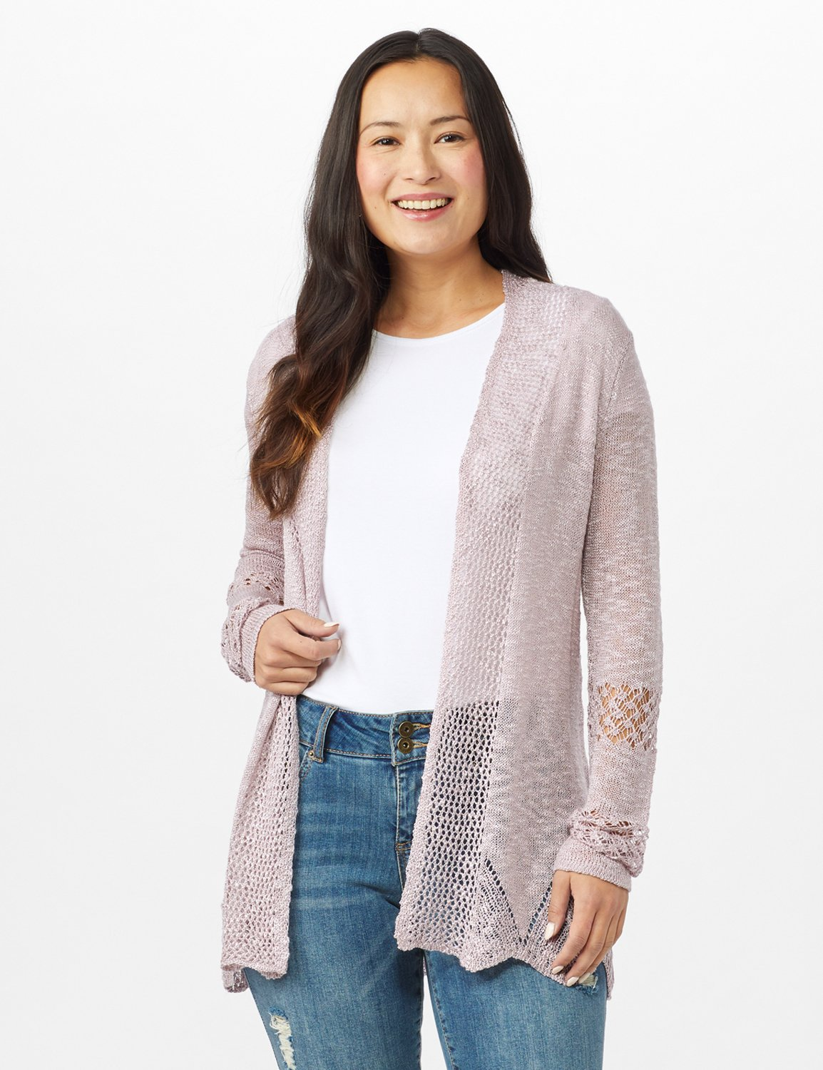 Scallop Trim Textured Cardigan -Pale Lilac - Front