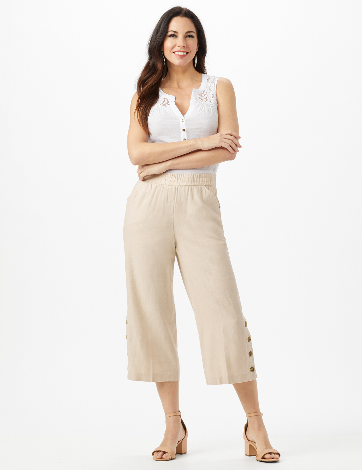 Elastic Waist Crop With Button Detail On Leg -Natural - Front
