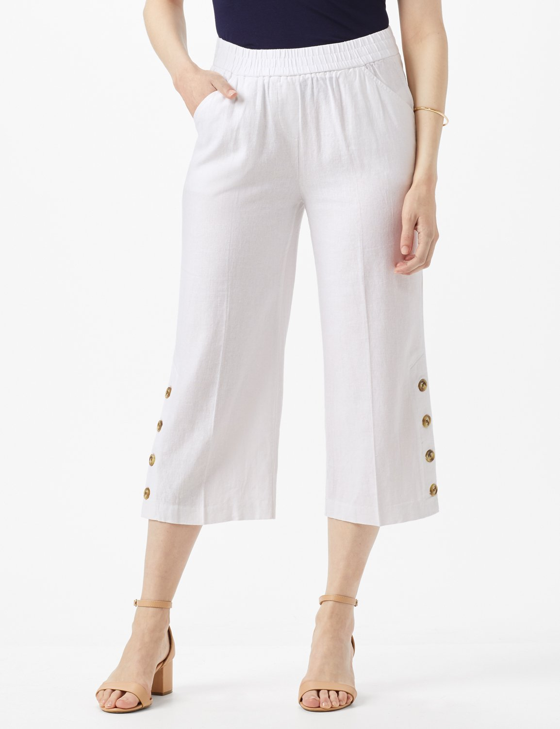 Elastic Waist Crop With Button Detail On Leg -White - Front