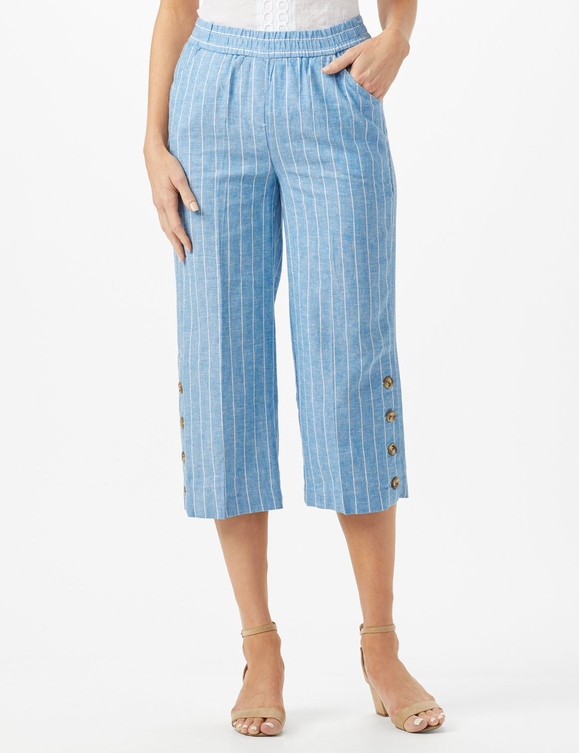 Striped Elastic Waist Crop With Button Detail on Leg -Blue/White - Front