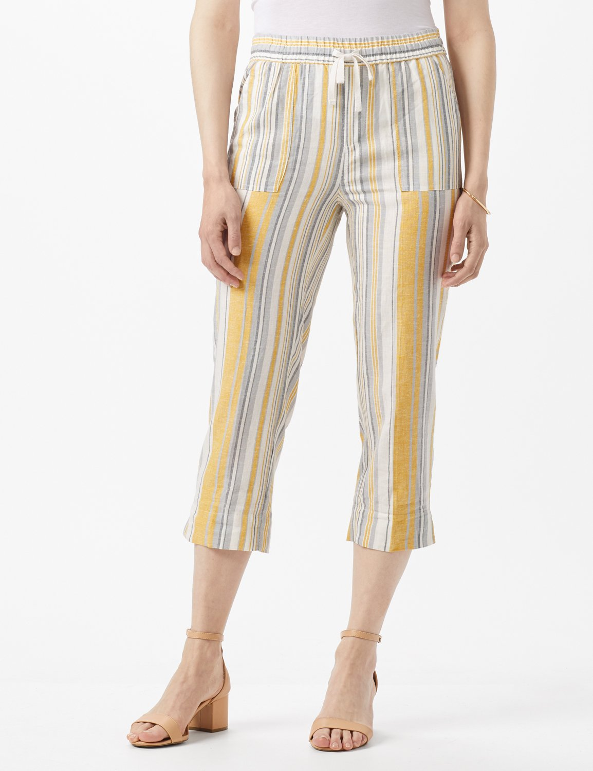 Striped Pull On Drawstring Crop -Gold Stripe - Front