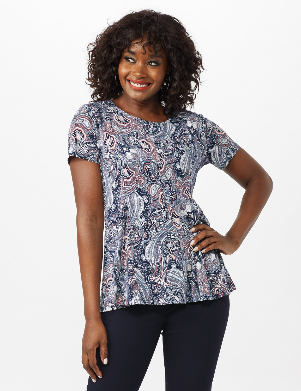 Puff Print Fit and Flare Knit Top -Navy - Front