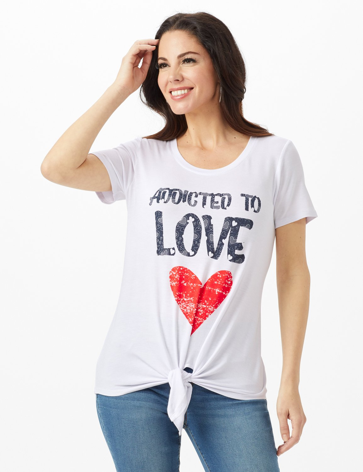 Addicted to Love Tie Front Screen Tee -White - Front