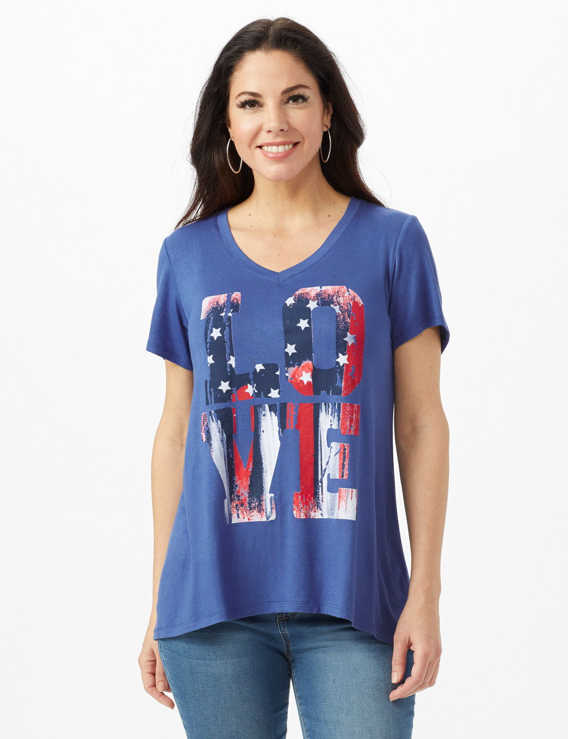 LOVE Hi-Lo Screen Tee -Indigo - Front
