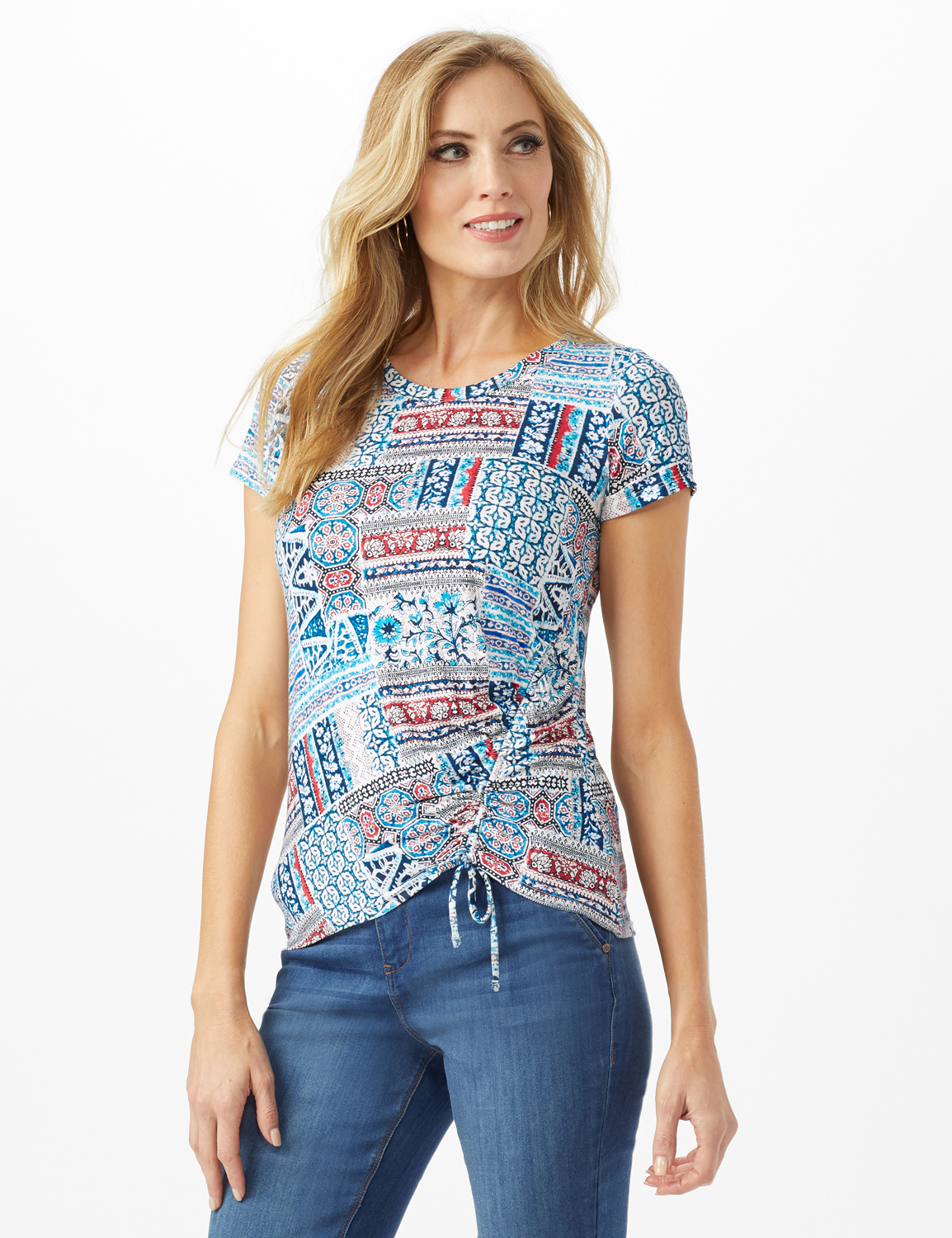 Patchwork  Asymmetrical Side Cinch Knit Top - Petite -Blue - Front