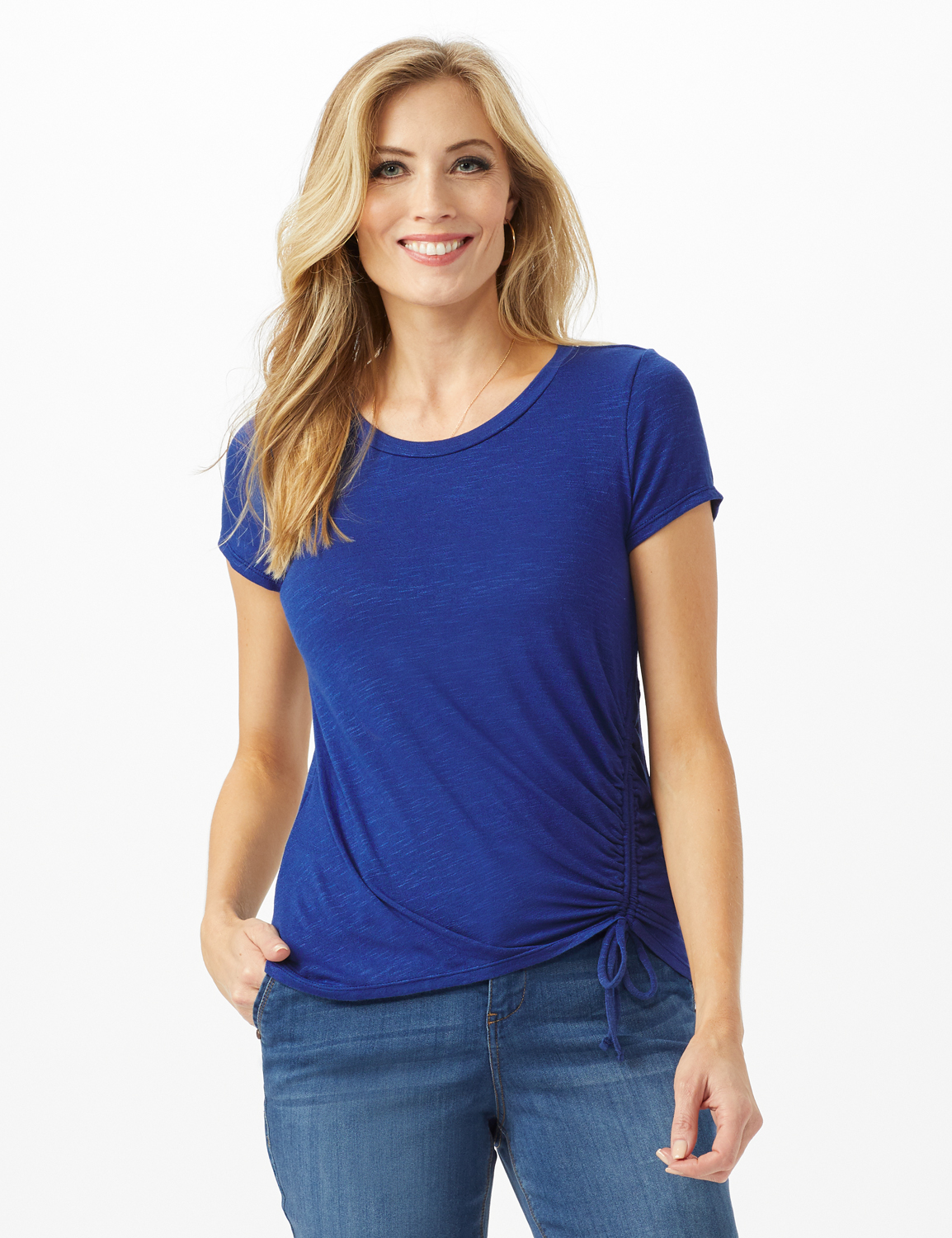 Asymmetrical Side Cinch Knit Top - Petite -Blue - Front