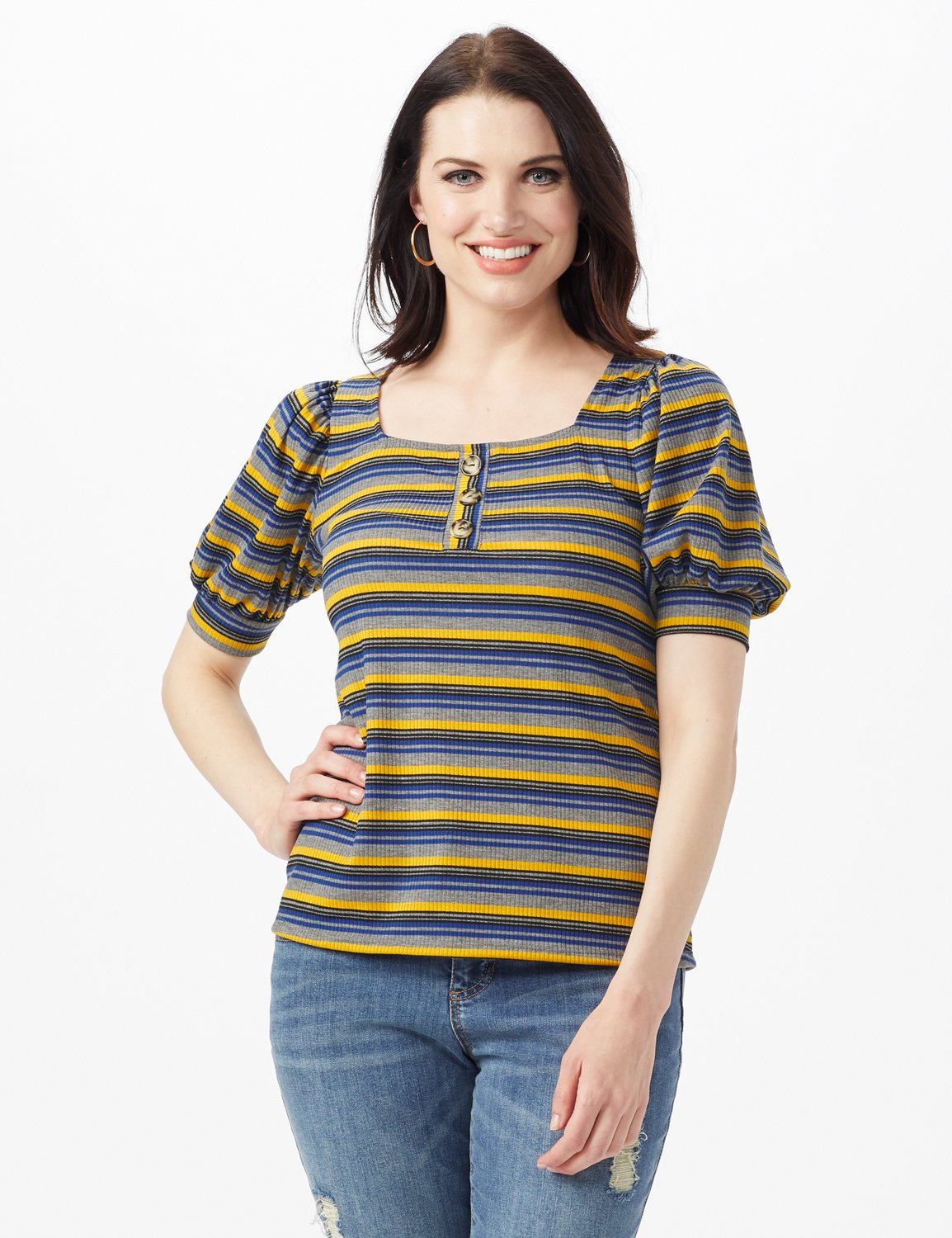 3 Button Stripe Puff Sleeve Knit Top - Petite -Denim - Front