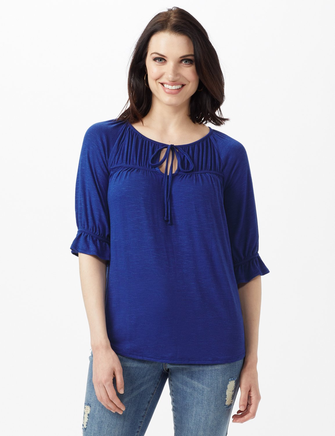 Ruffle Trim Peasant Knit Top -Blue - Front