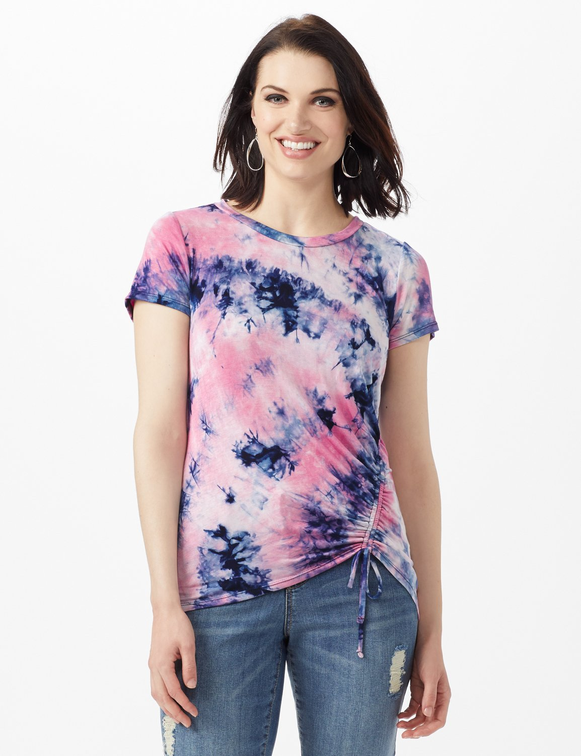 Tye Dye Ruched Tie Front Top -Pink - Front