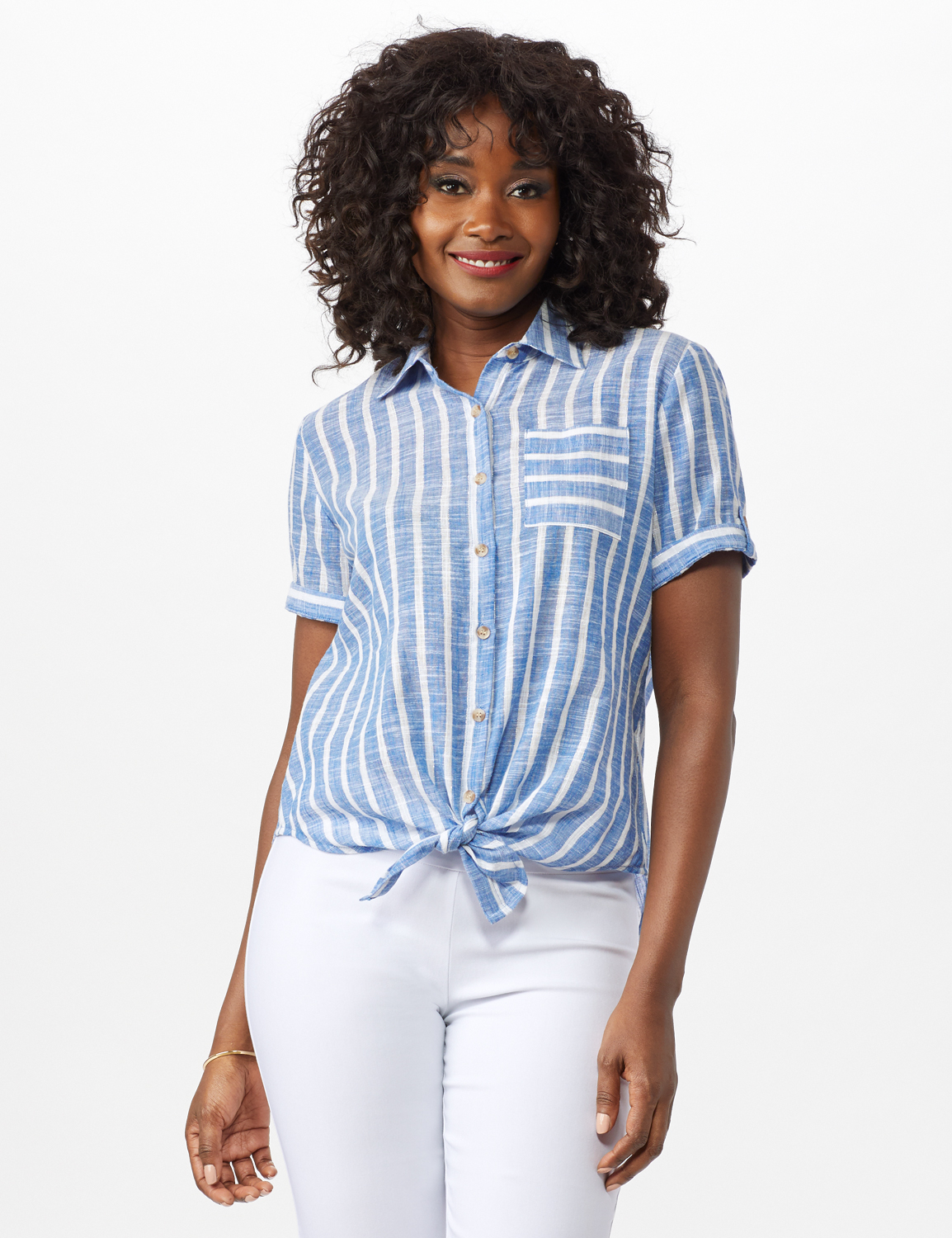 Dressbarn Lurex Stripe 1 Pocket Shirt - Misses -Blue - Front