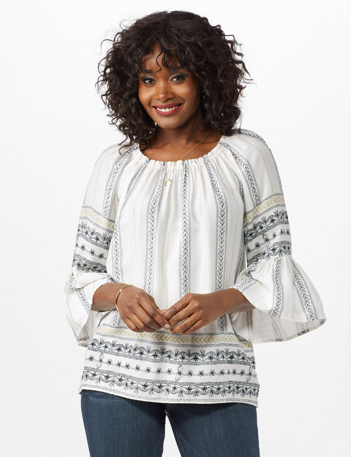 Westport Bell Sleeve Border Tunic - Misses -Ivory - Front