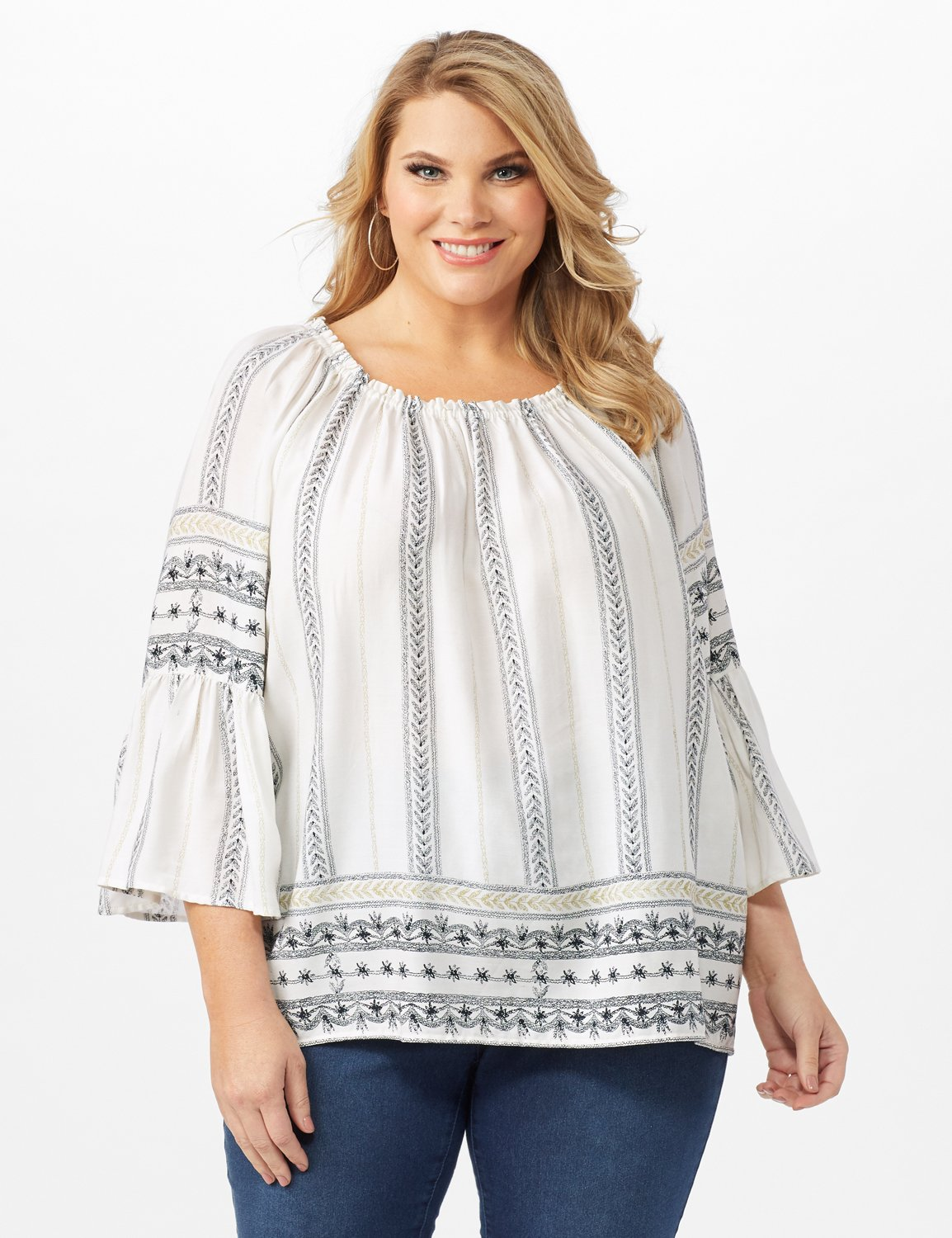 Westport Bell Sleeve Border Tunic - Plus -Ivory - Front