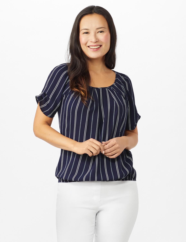 Stripe Texture Bubble Hem Blouse -Navy/White - Front
